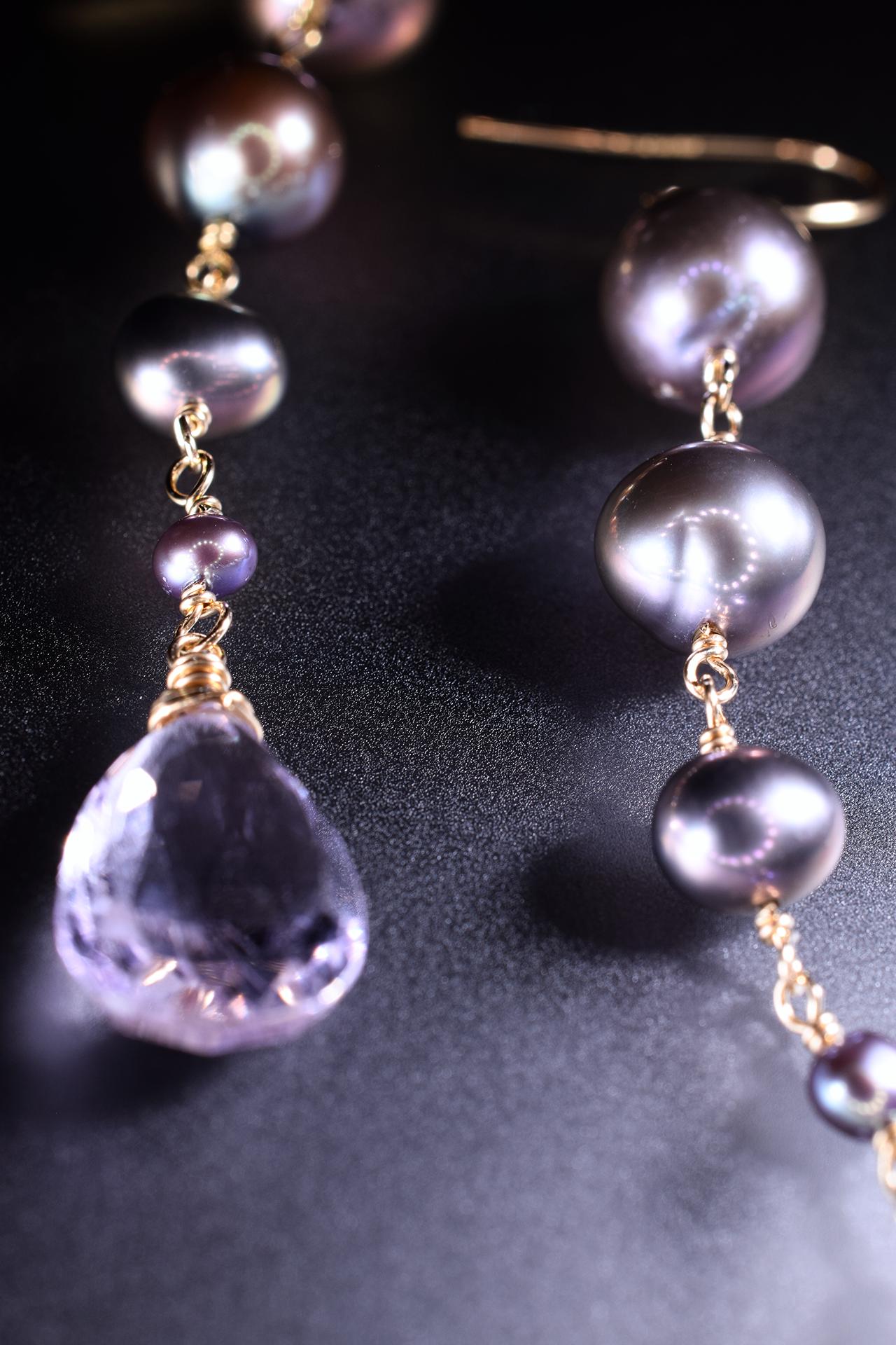 pearl and pink amethyst drop earrings