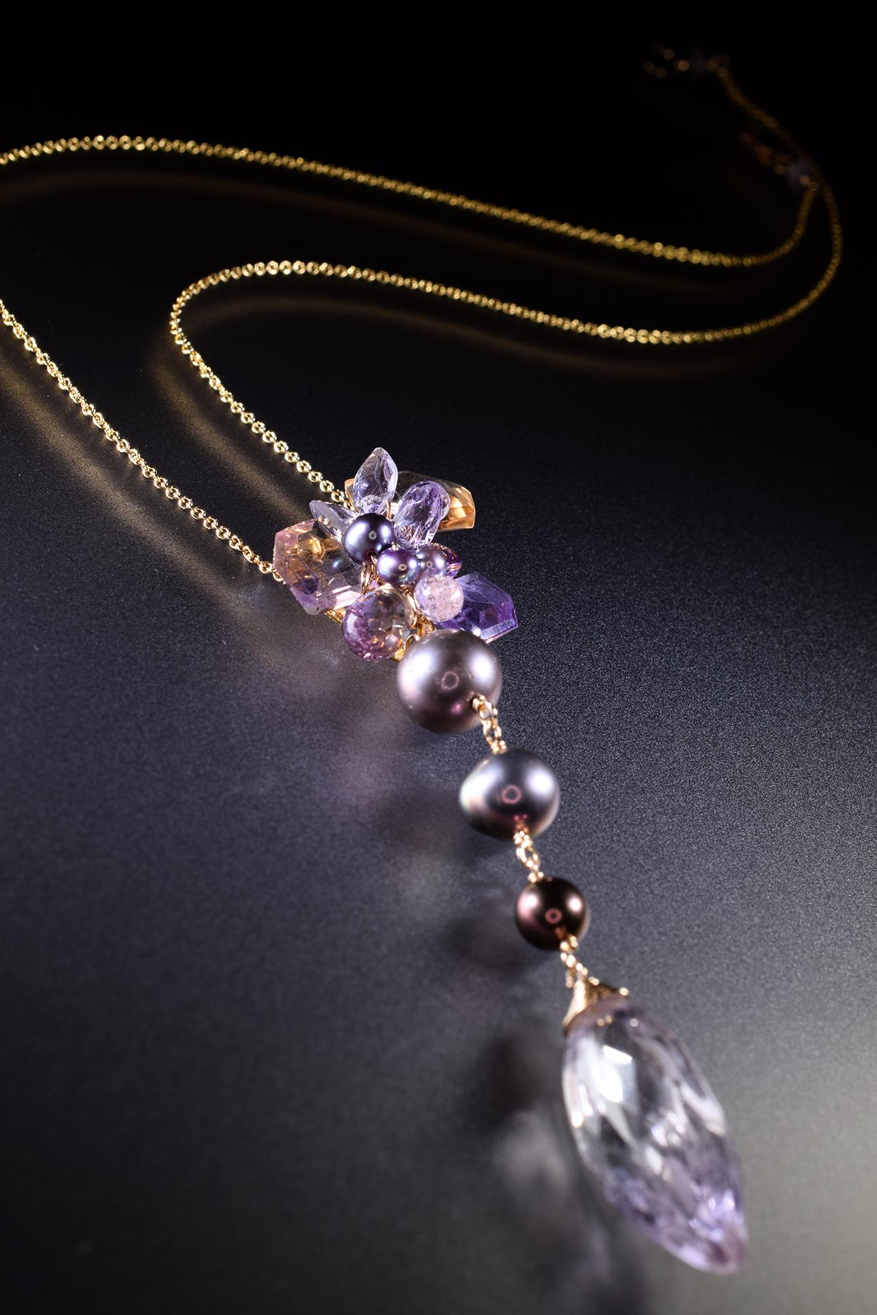 pearl amethyst ametrine drop pendant necklace