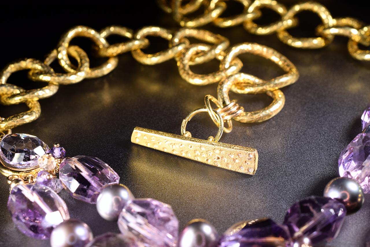 details of ametrine, amethyst, pink amethyst, pearl multi drop statement necklace