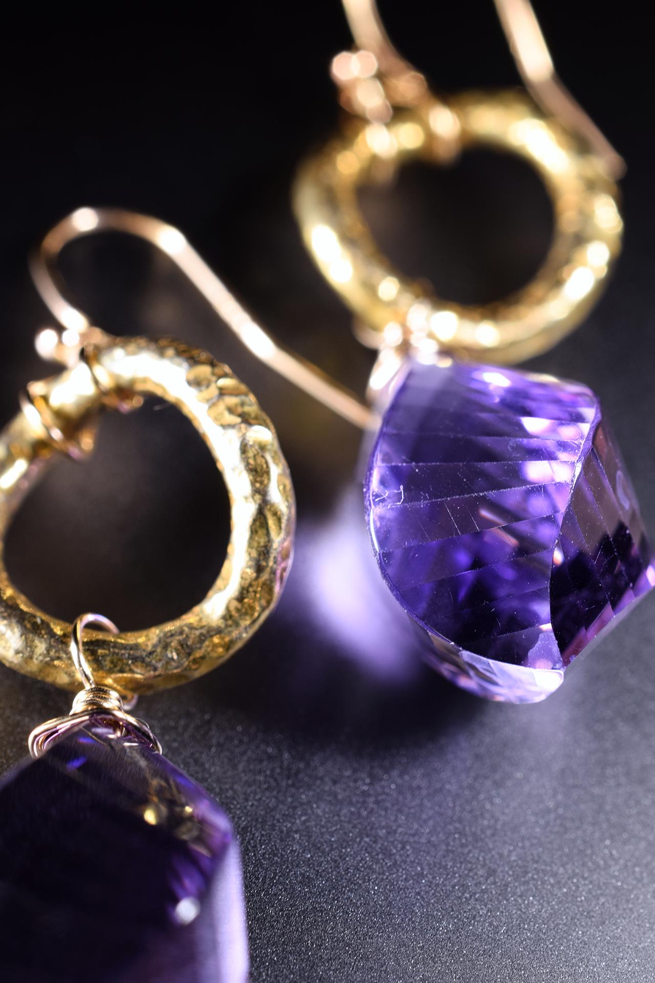 fancy cut amethyst drop earrings