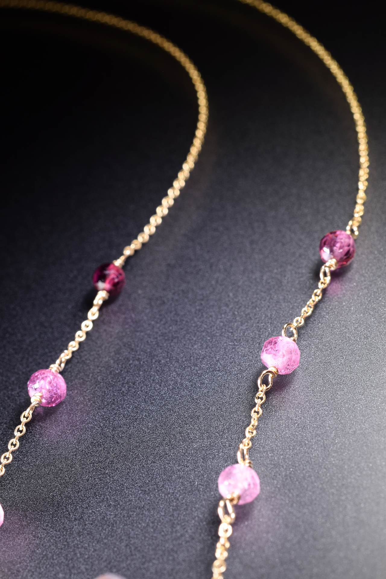 pink amethyst pink tourmaline and sapphire drop pendant necklace