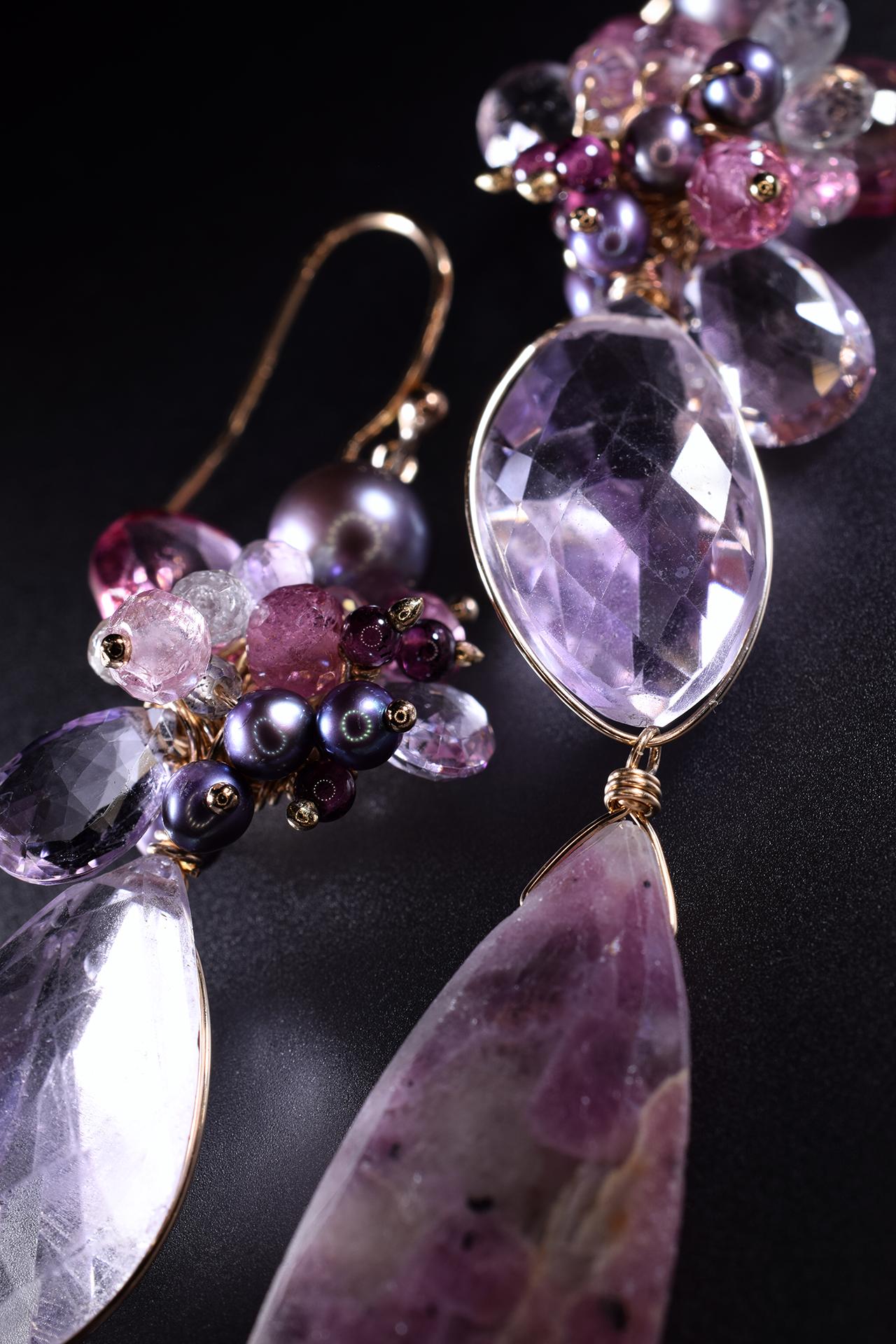 long statement gemstone earrings