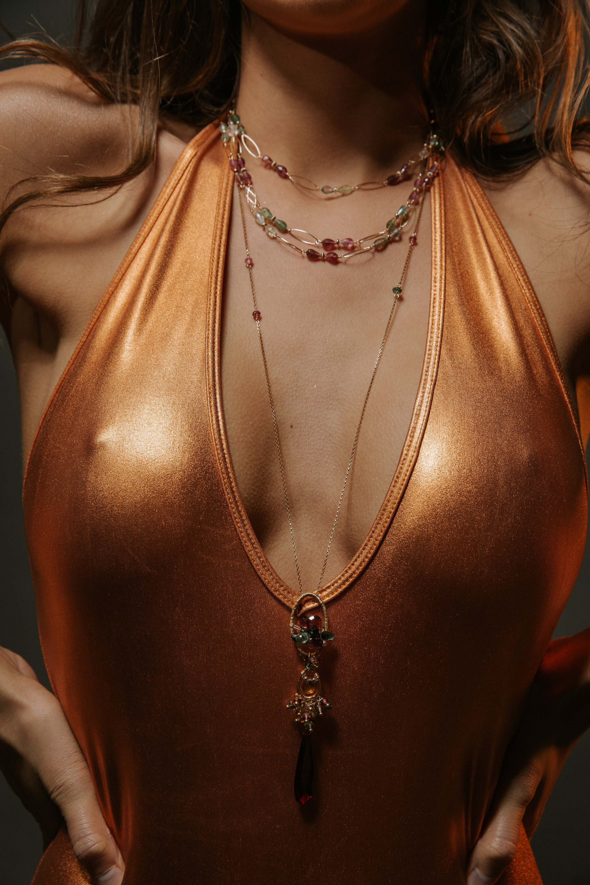 model wearing tourmaline layering necklace