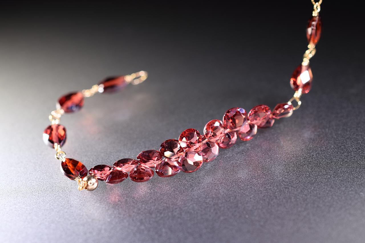 rhodolite garnet gemstone gold stacking bracelet