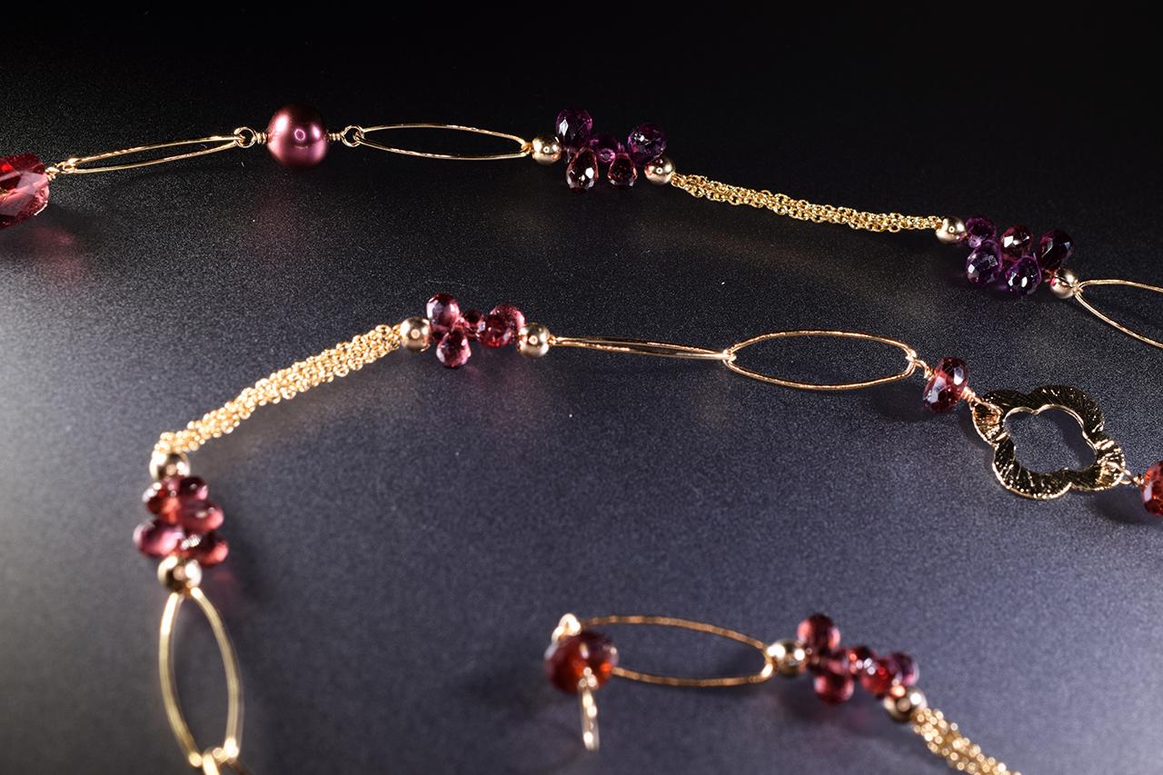 garnet layering necklace