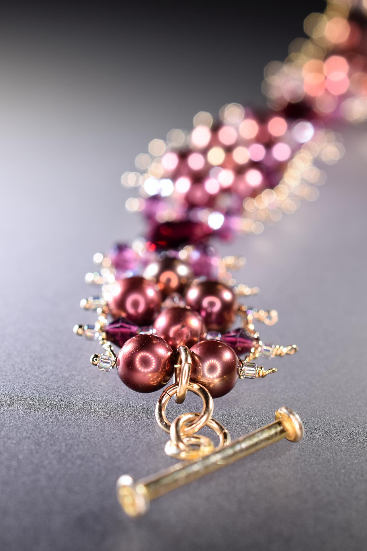 garnet and pearl cuff bracelet
