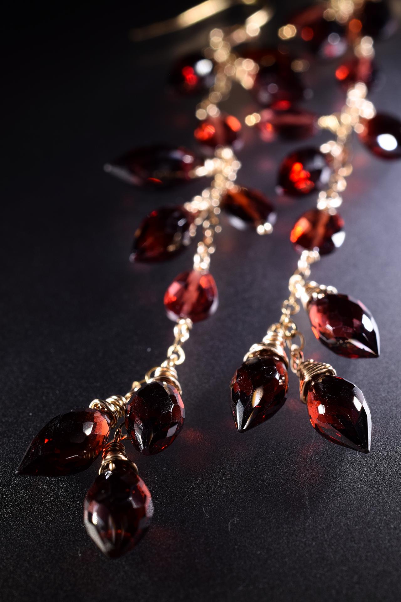 rhodolite garnet drop earrings