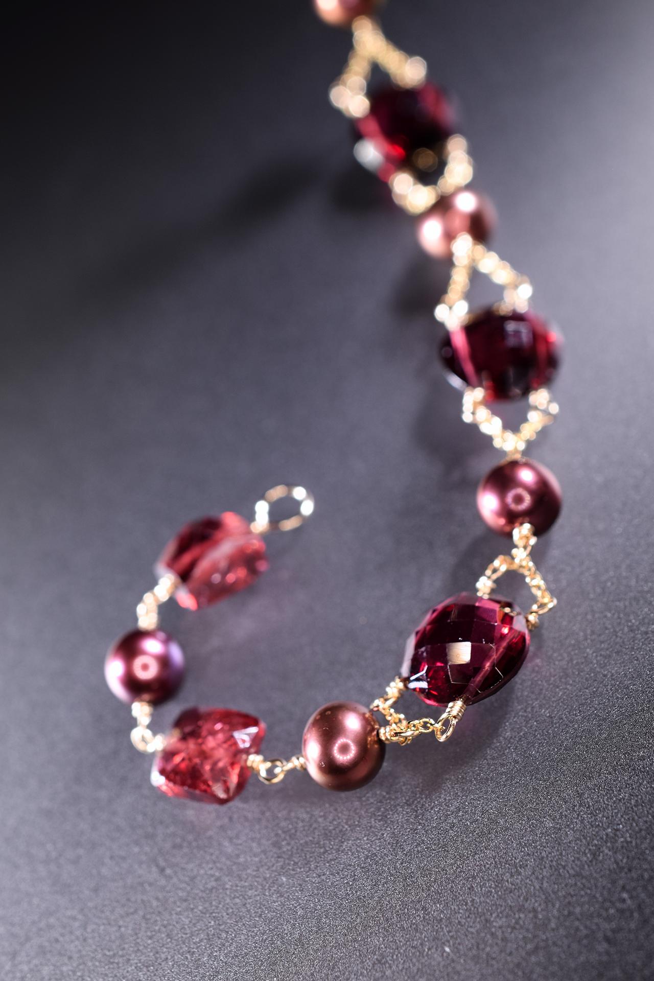 rhodolite garnet and pearl bracelet