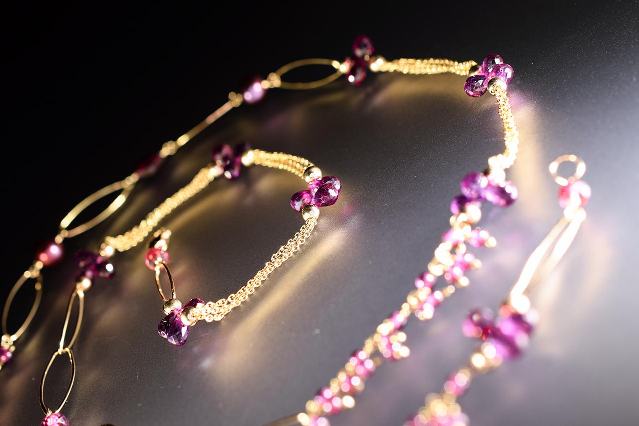 rhodolite garnet long layering necklace
