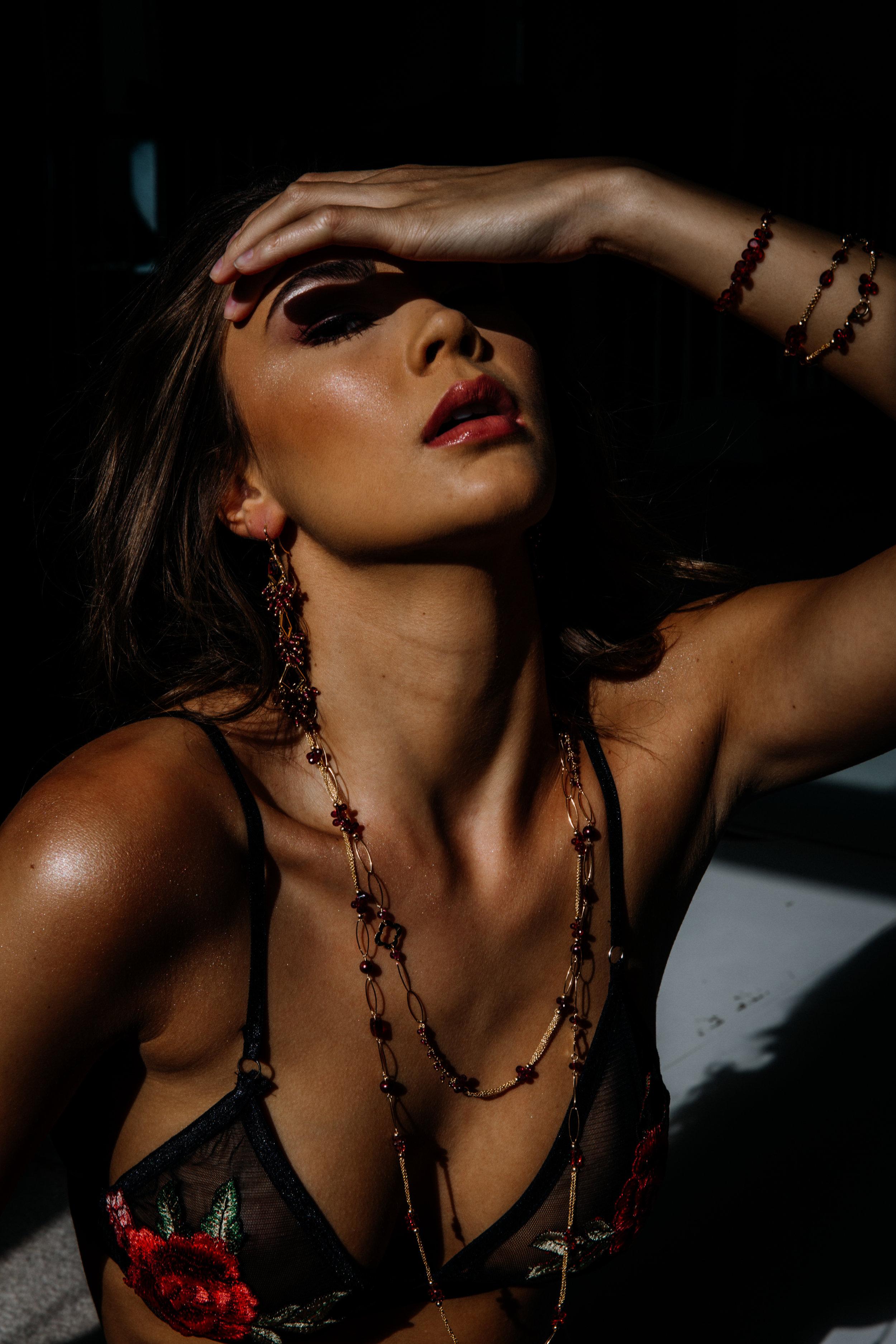model wearing rhodolite garnet long layering necklace