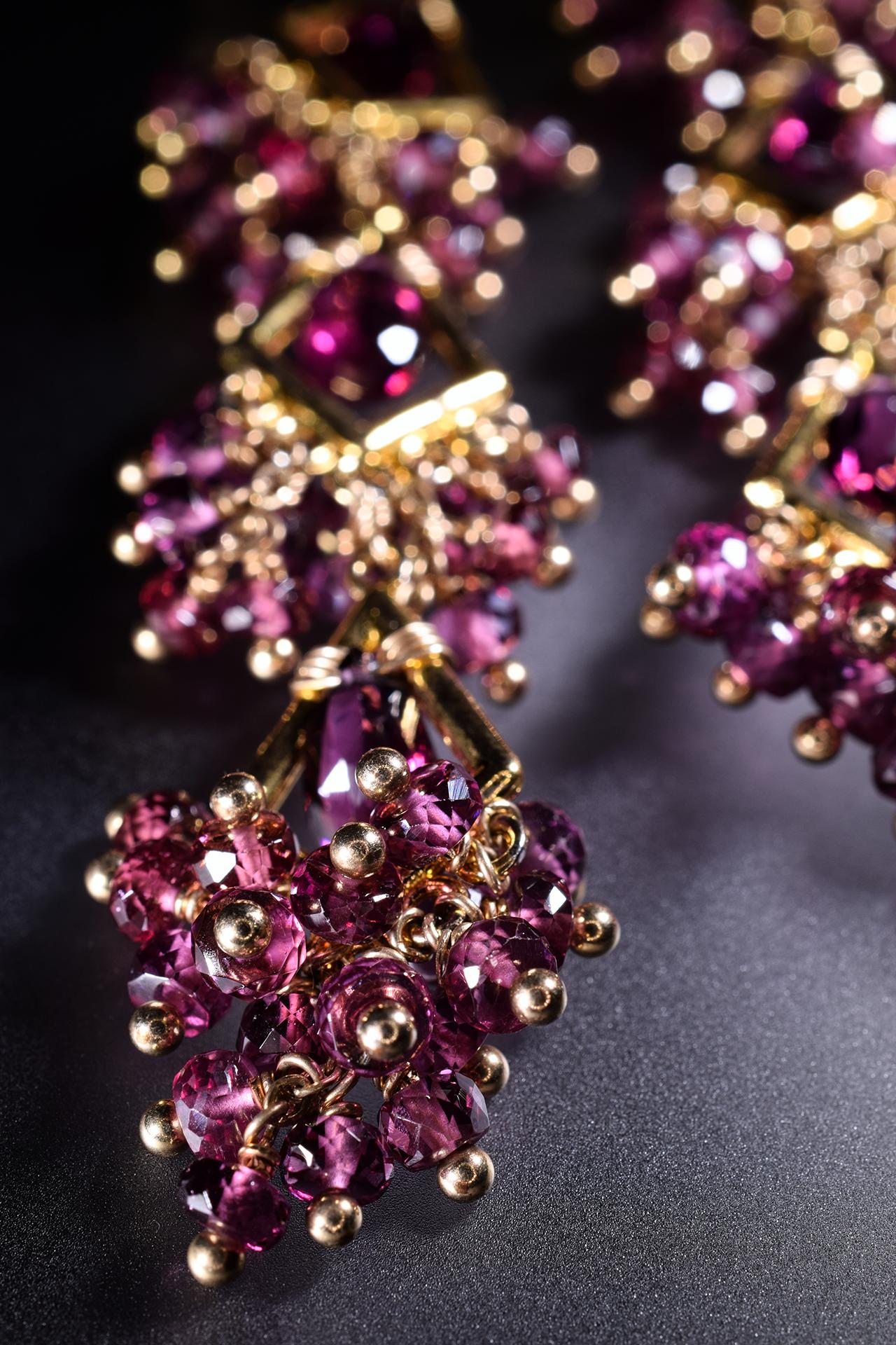 garnet statement earrings