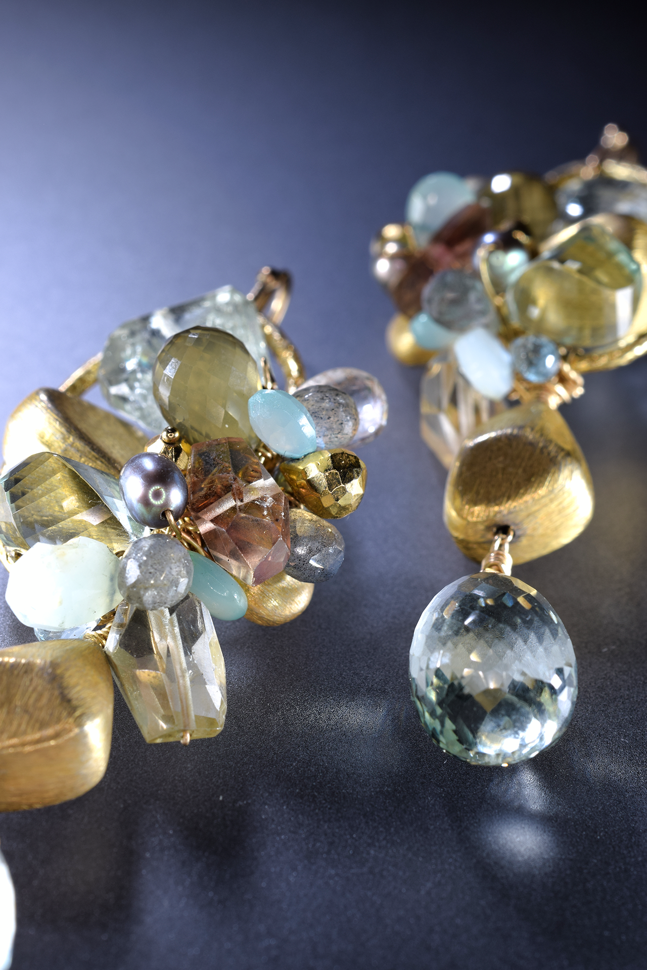 Gemstone and gold statement earrings