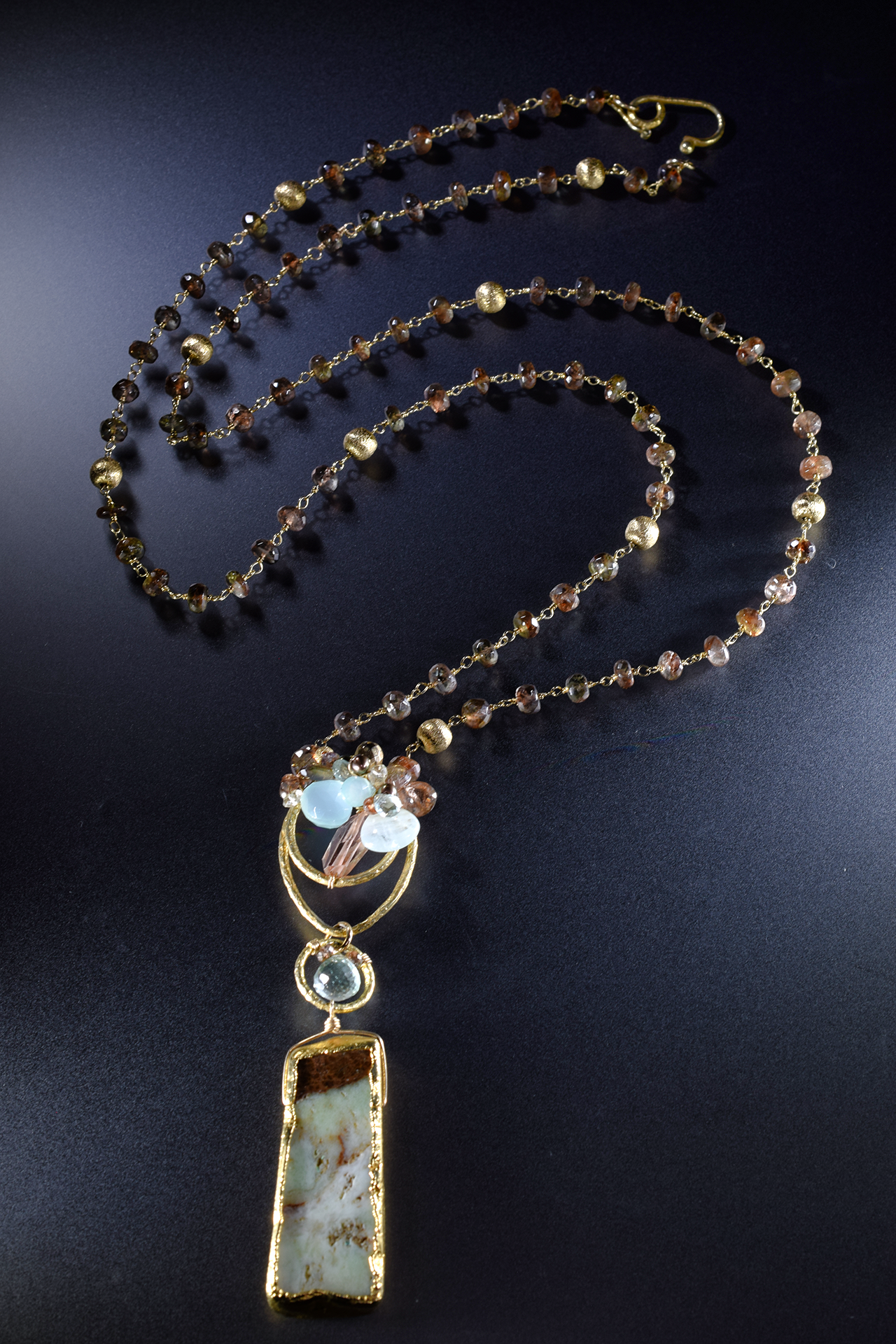 long gemstone and gold pendant long necklace
