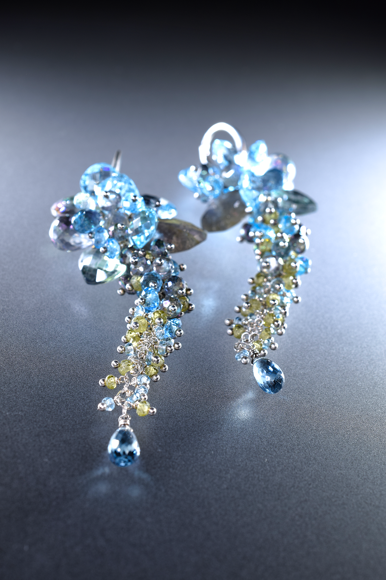 statement gemstone, swiss blue topaz, london blue topaz, peridot, labradorite and sterling silver earrings
