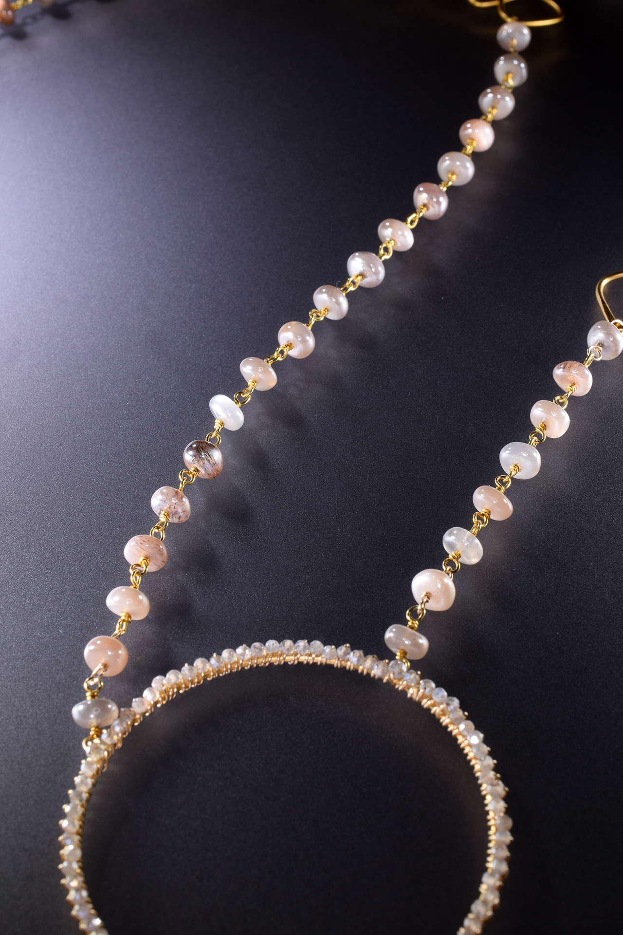 Multi circle gemstone and pearl encrusted drop pendant long gold necklace