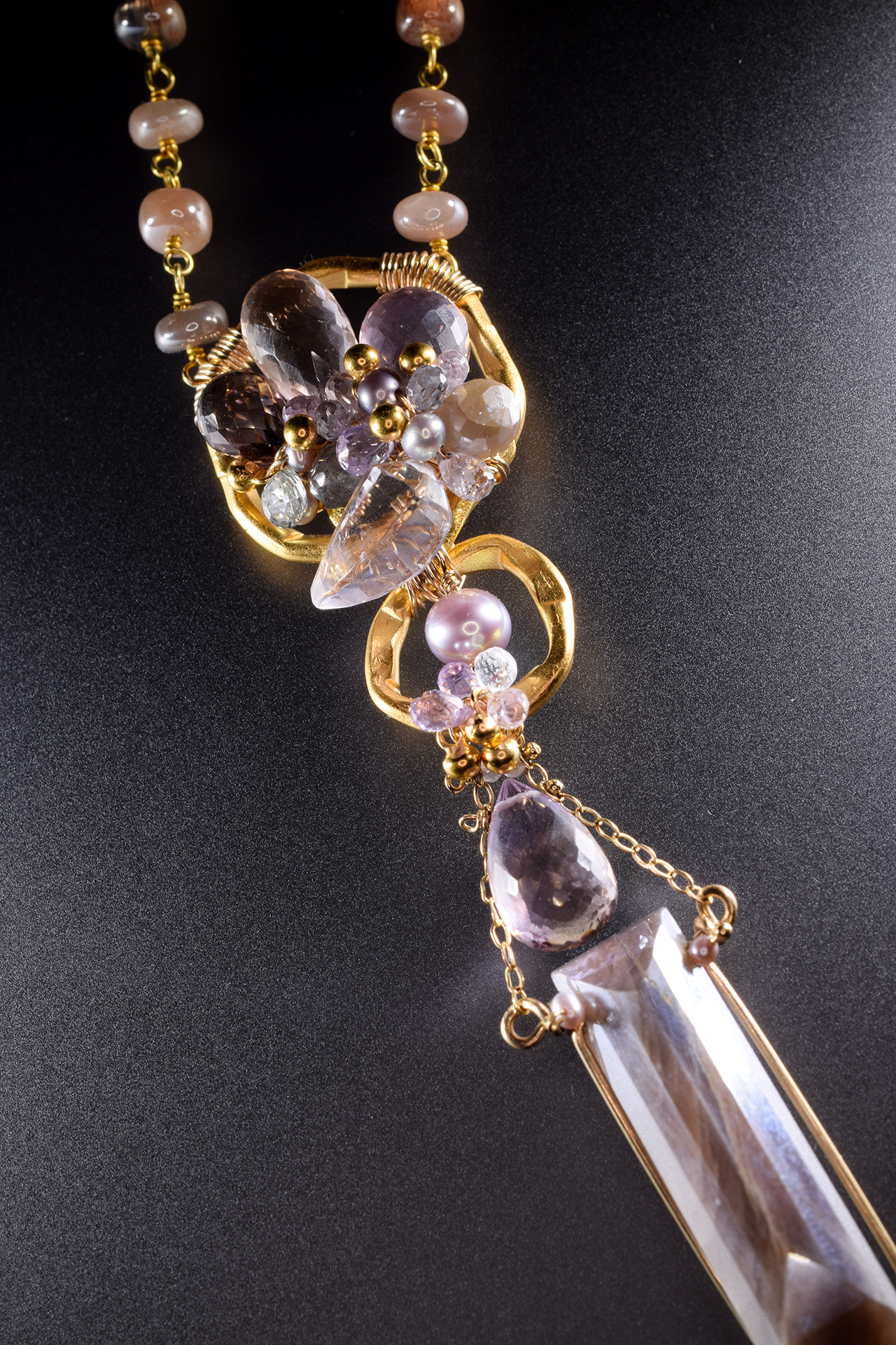 long multi drop gemstone pearl gold layering necklace