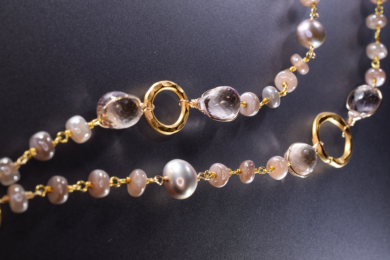 gemstone pearl cluster moonstone rectangle drop gold necklace
