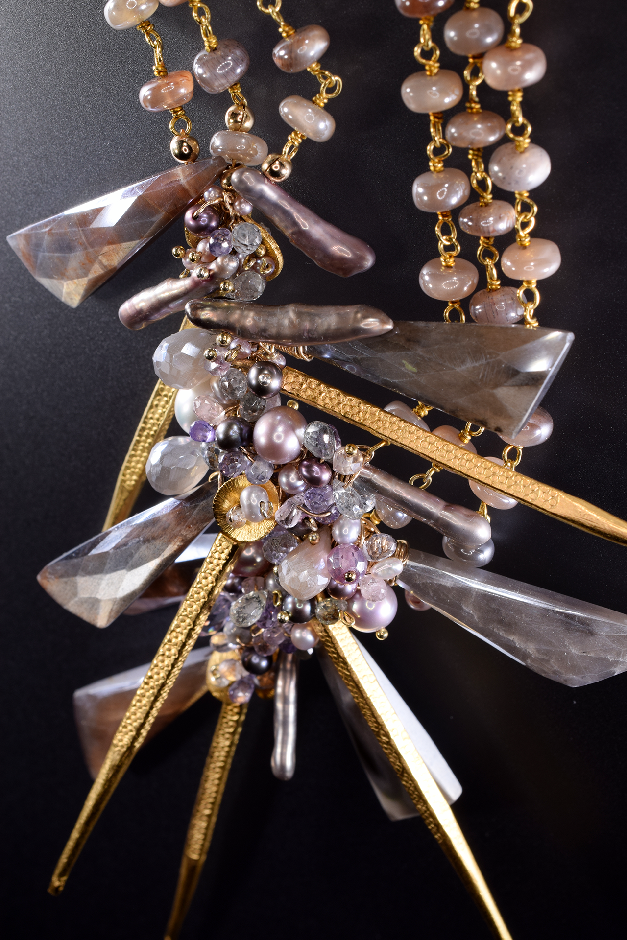 signature statement asymmetric gemstone cluster with multi gold spikes necklace