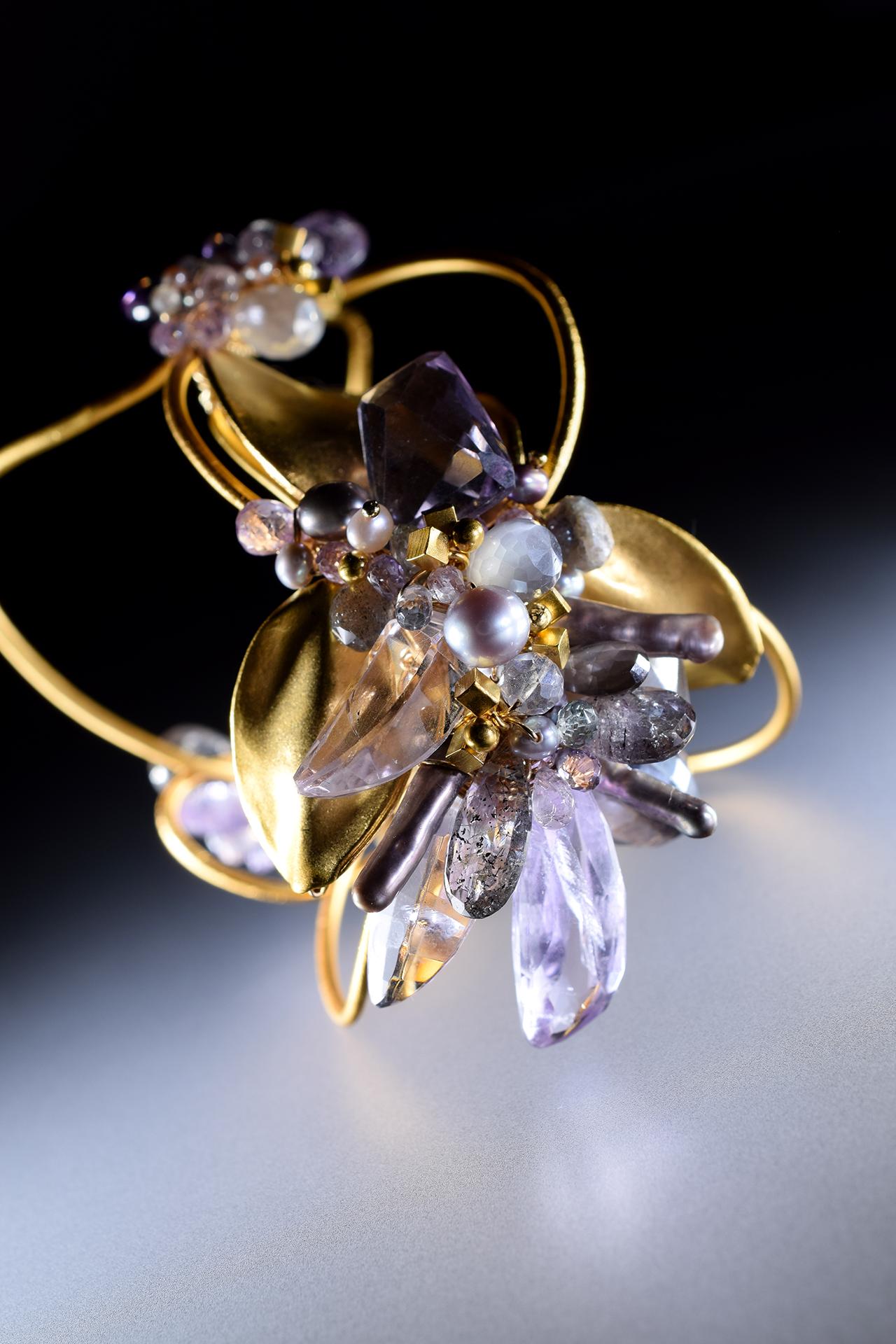gemstone statement cuff bracelet