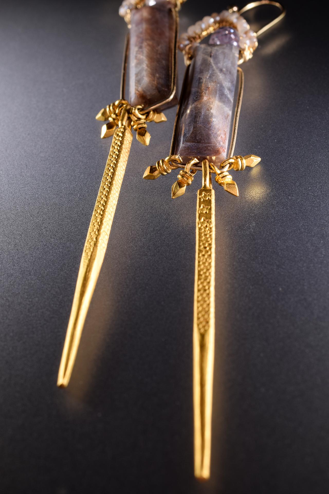 long column rectangle moonstone single gold spike drop earrings