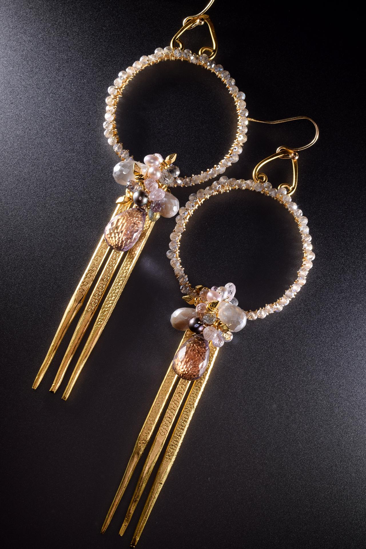encrusted hoop gemstone cluster triple spike gold drop earrings