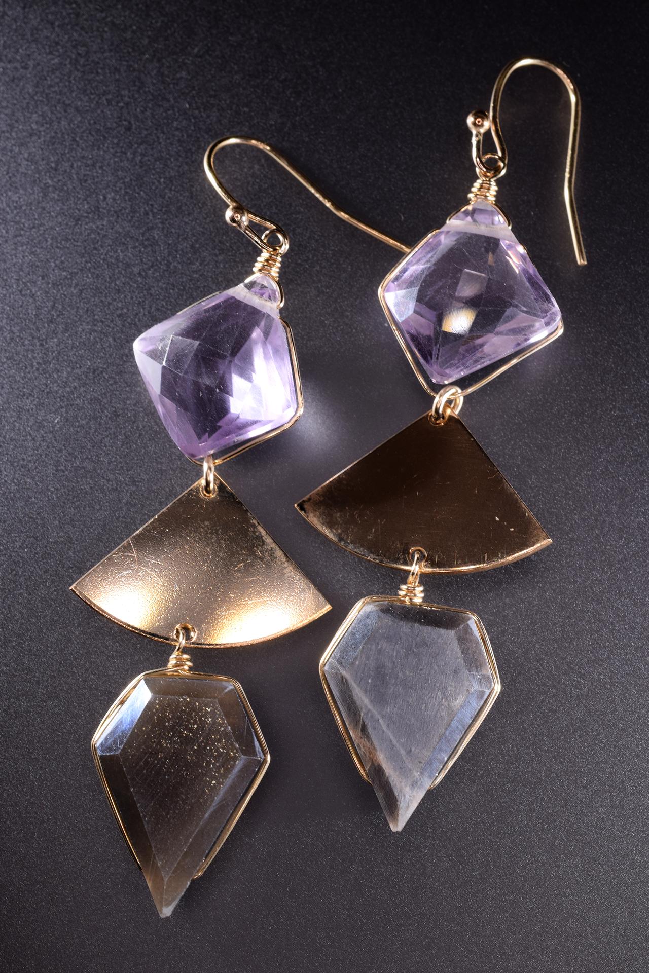 geometric triple short gemstone gold drop earrings