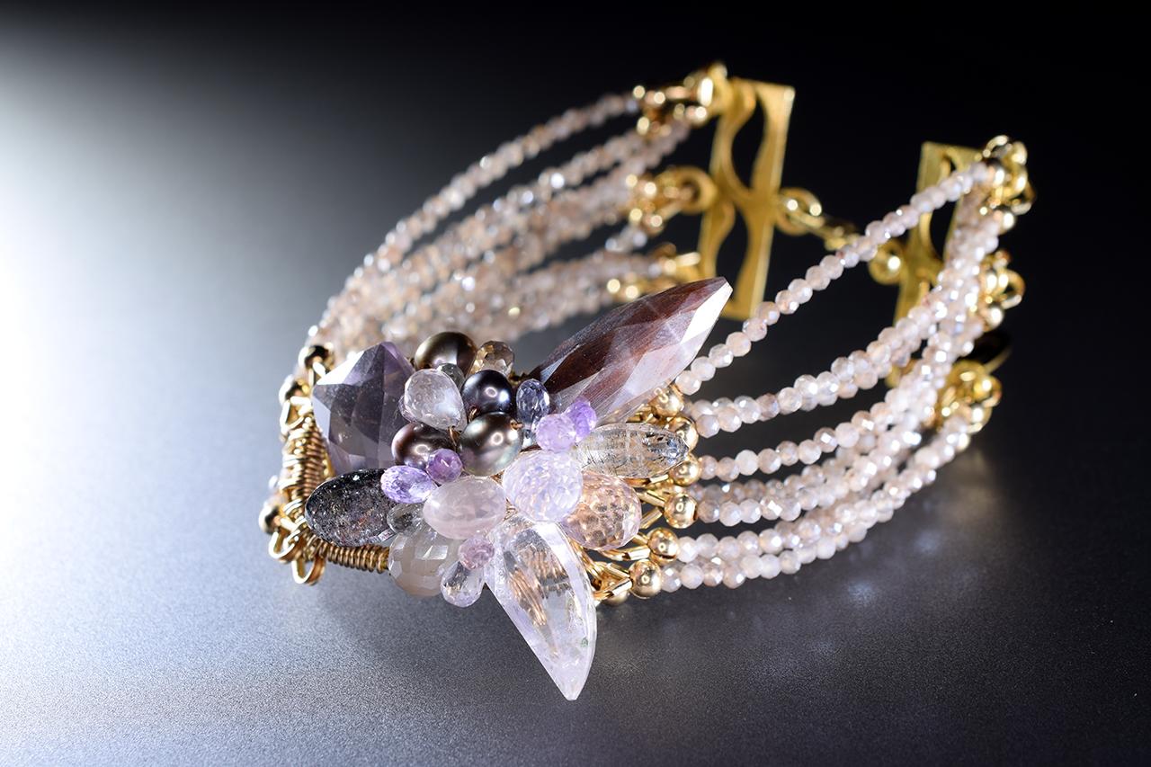 gemstone multi strand cuff bracelet