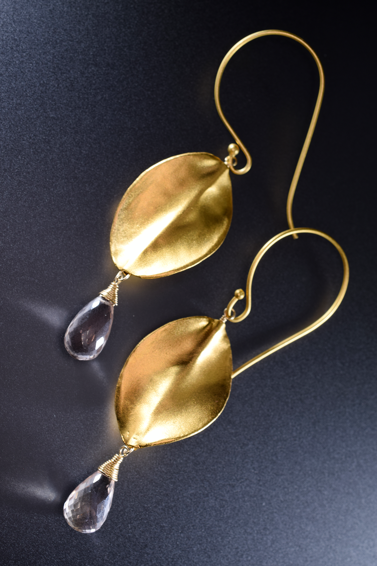 brushed gold oval drop with gemstone briolettes accents