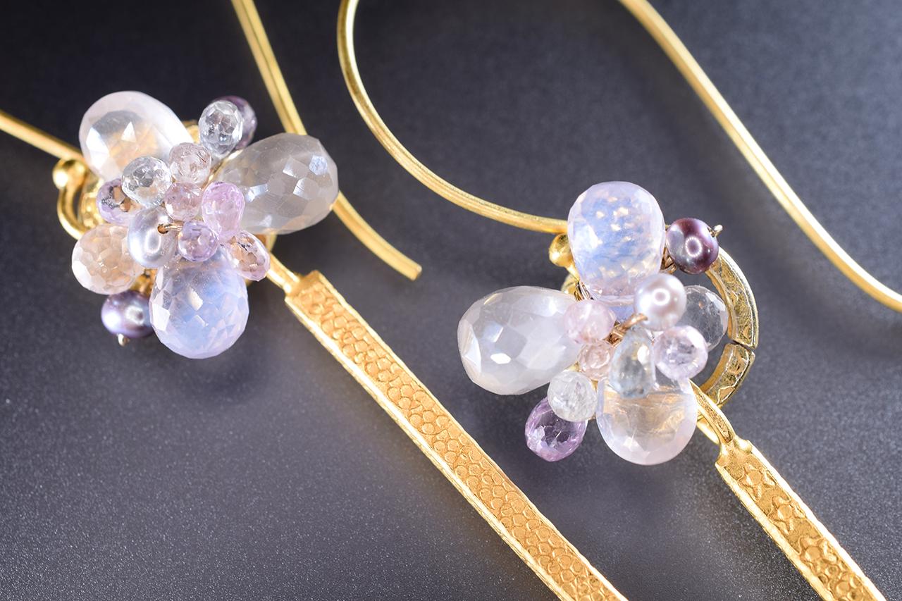 single gold spike gemstone cluster earrings