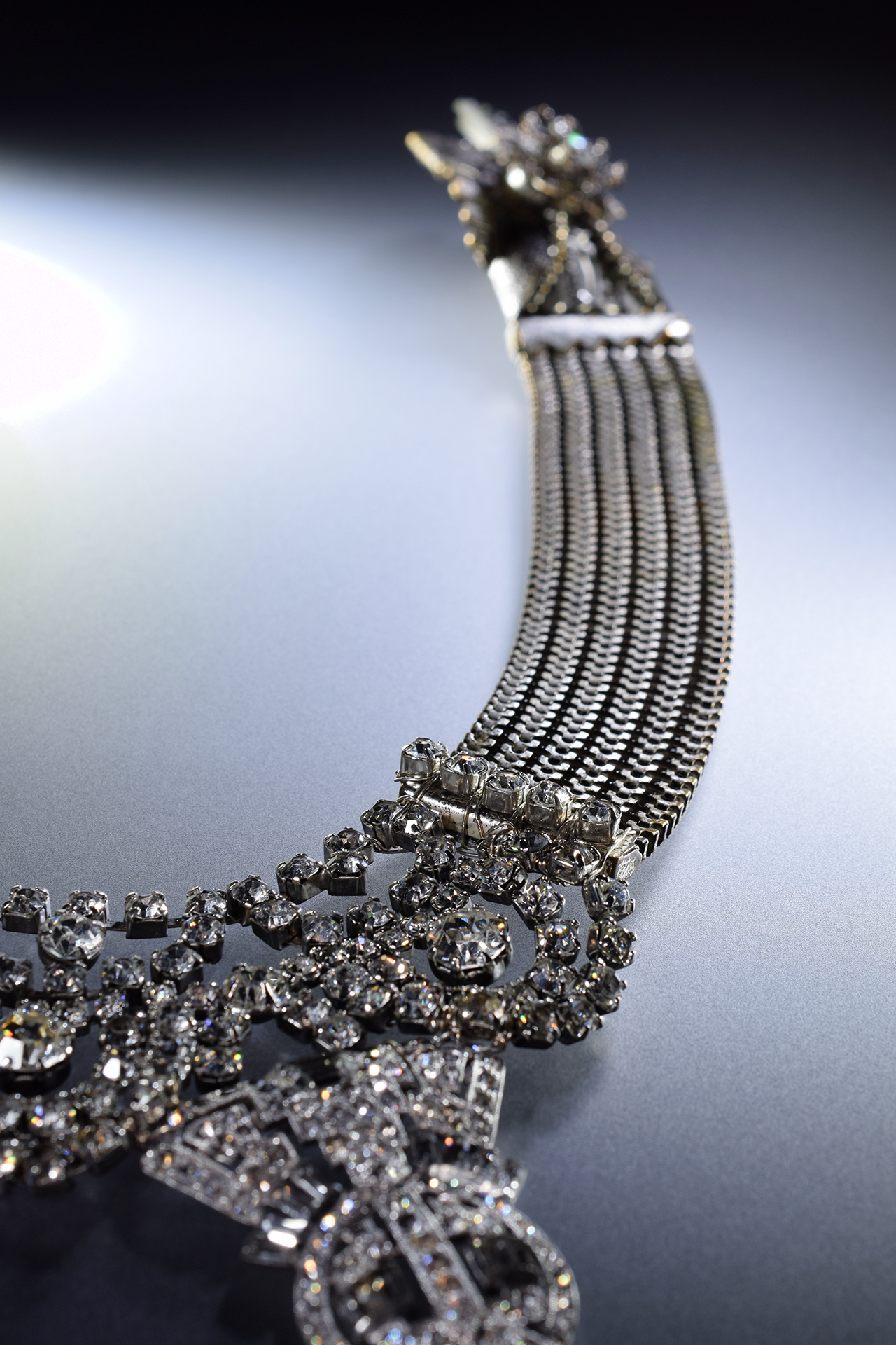 crystal and silver rhinestone necklace