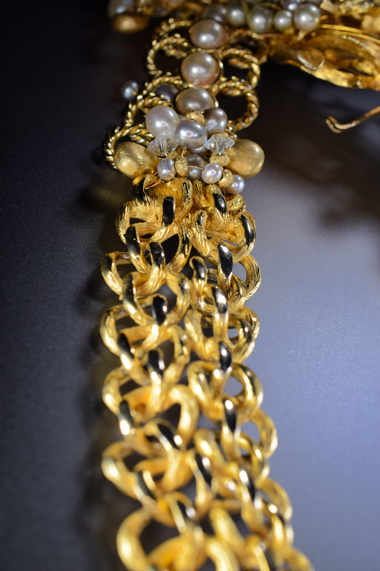 gold and pearl vintage statement necklace