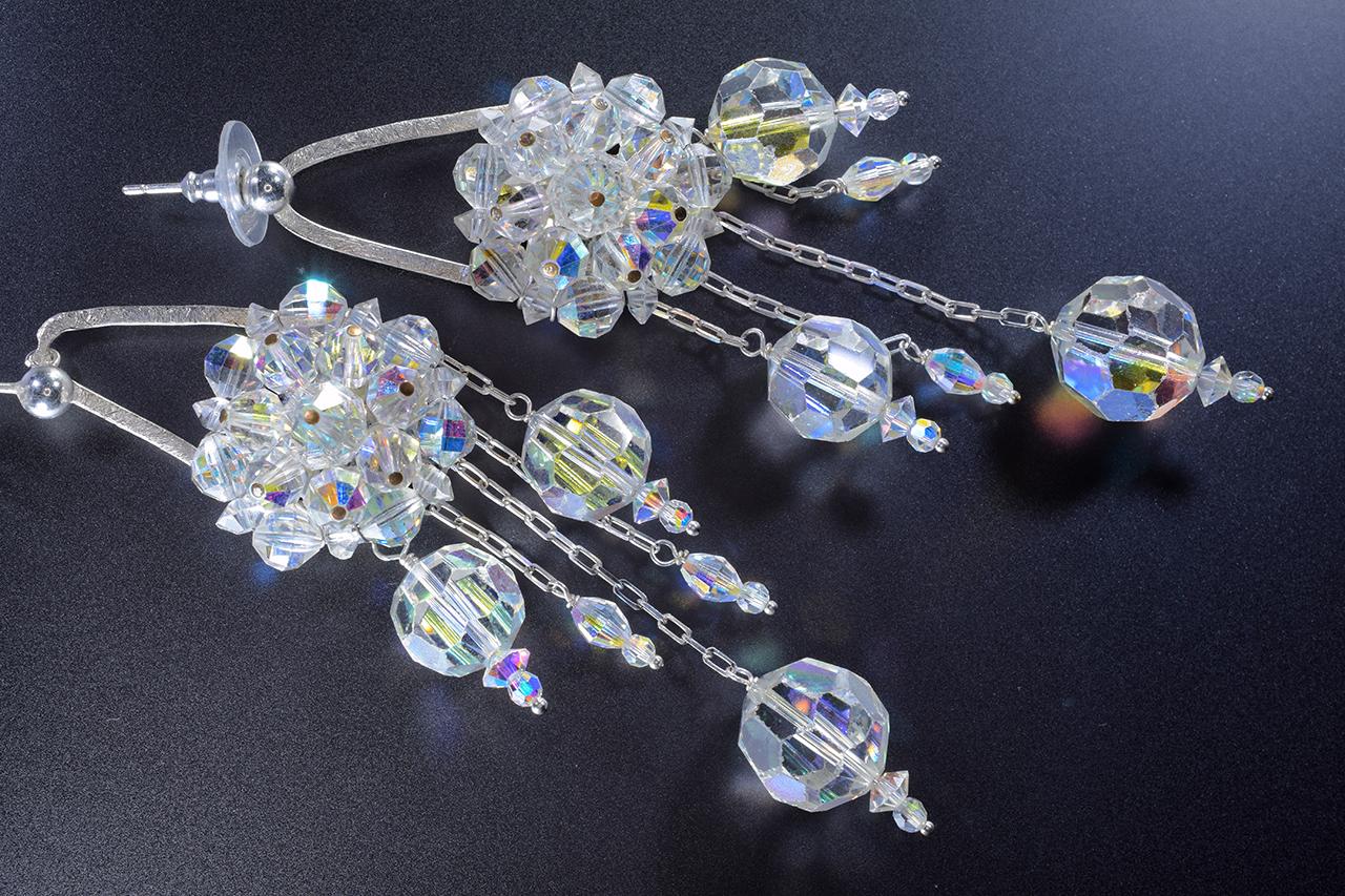 aurora borealis swarovski crystal and silver chandelier earrings