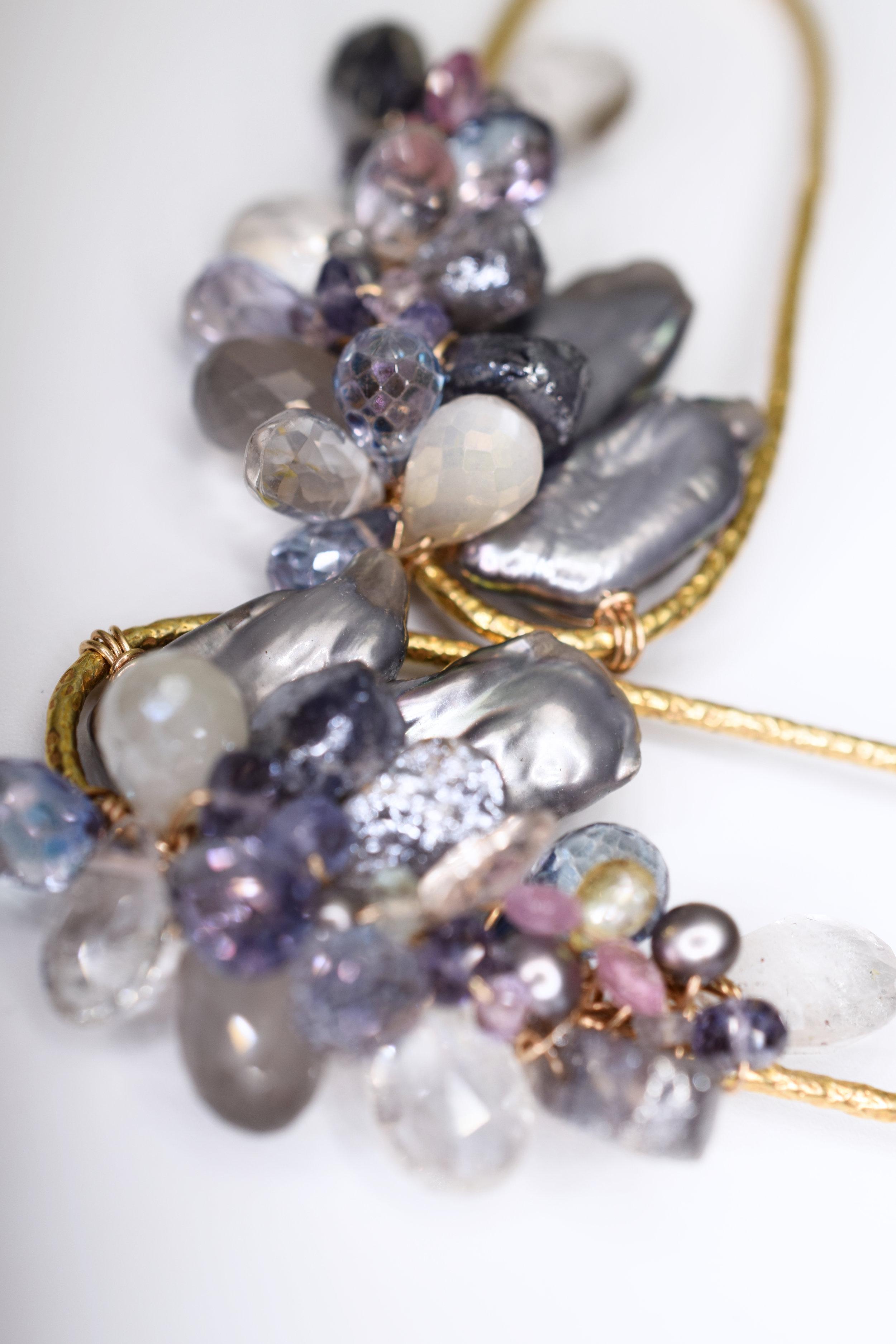 gemstone biwa pearl earrings