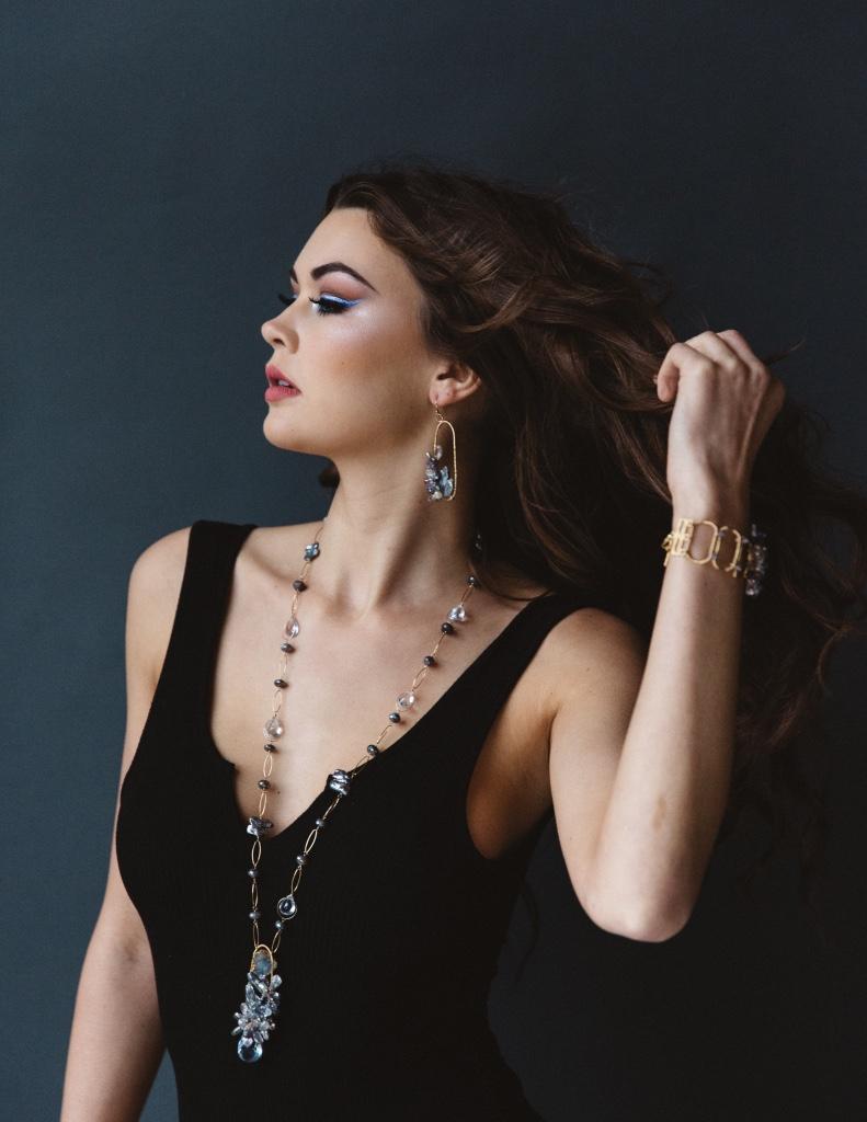 model wearing gemstone biwa pearl earrings