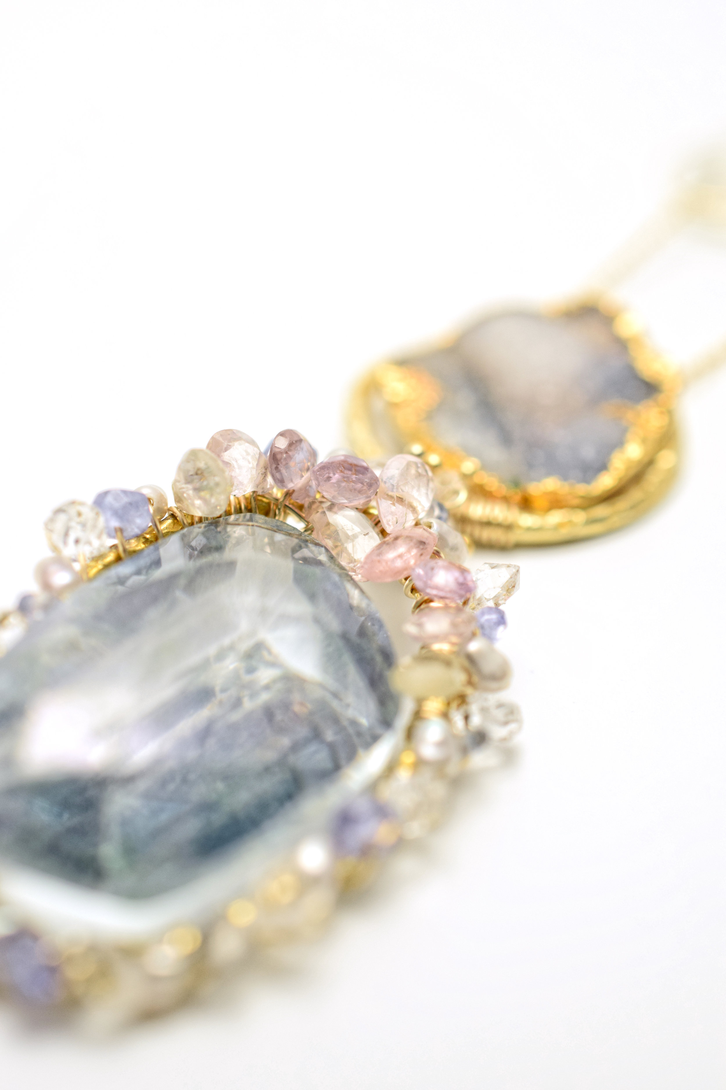 sapphire and druzy pendant necklace