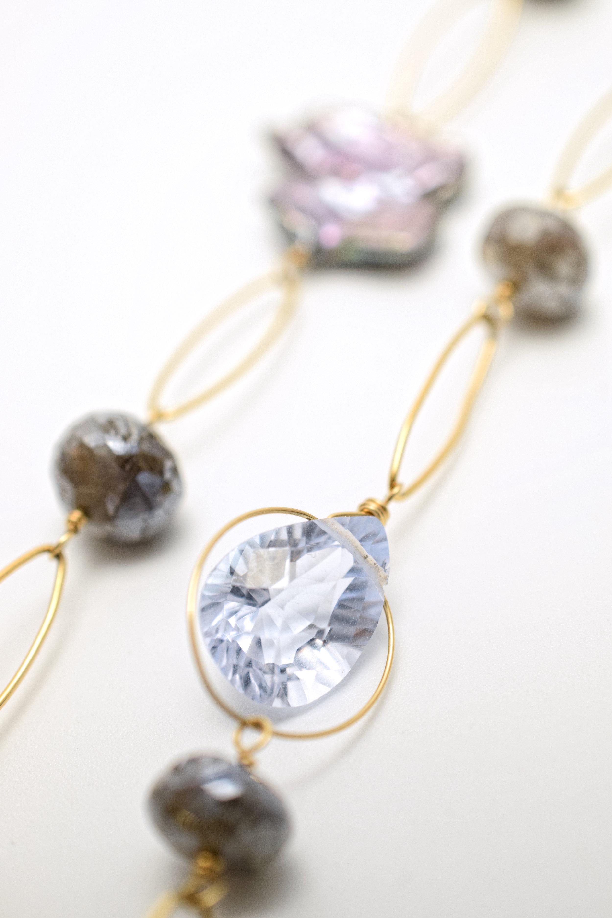 gemstone cluster pendant necklace