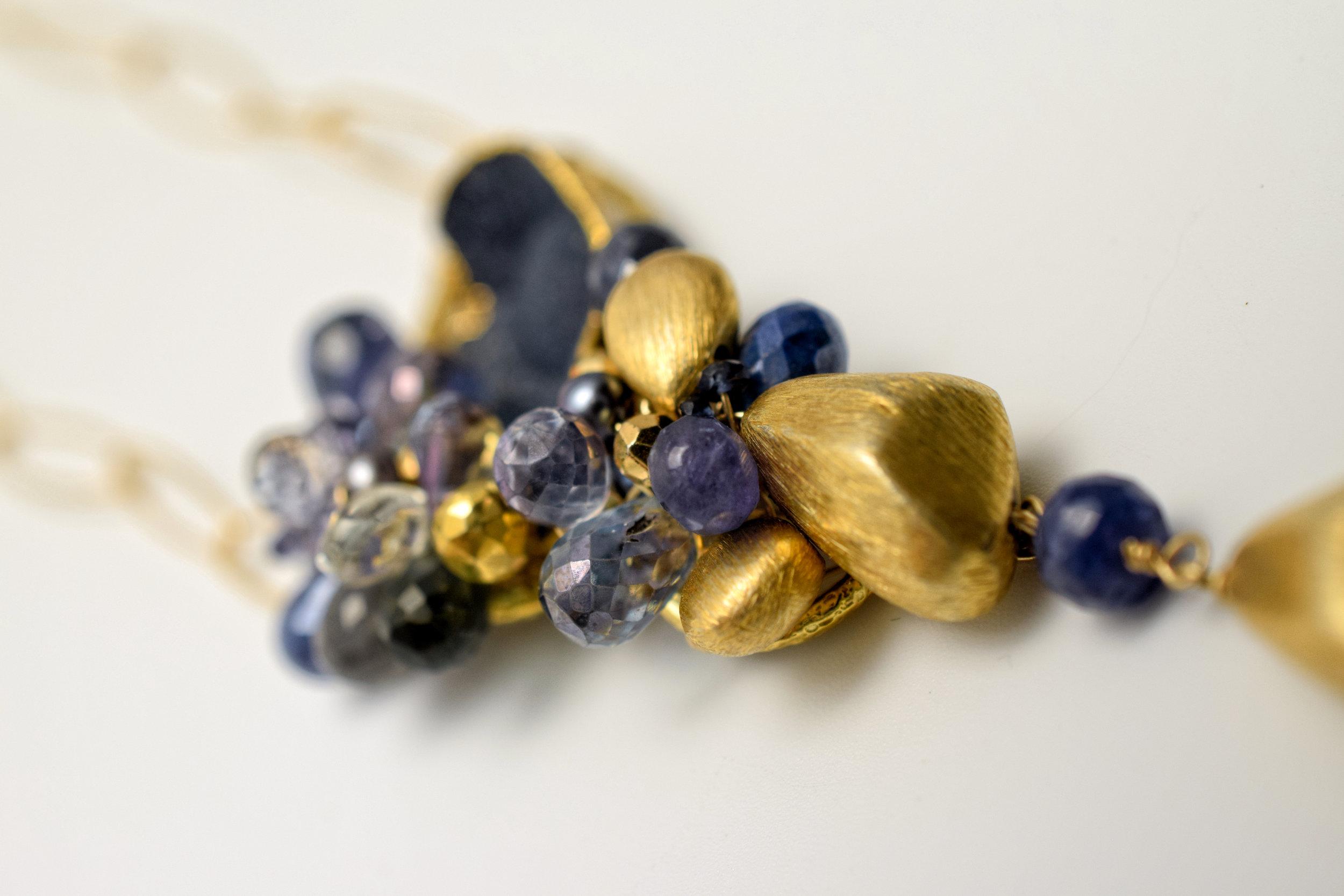 gemstone and gemstone gold drop pendant necklace