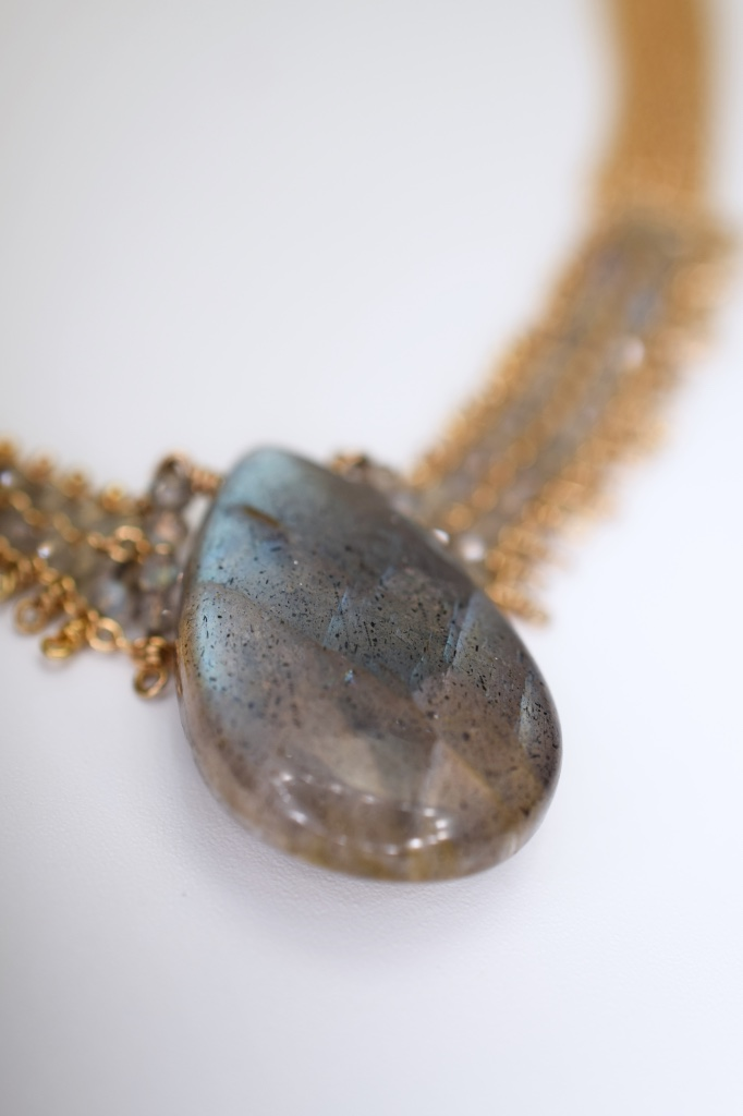 labradorite pendant and woven link chain