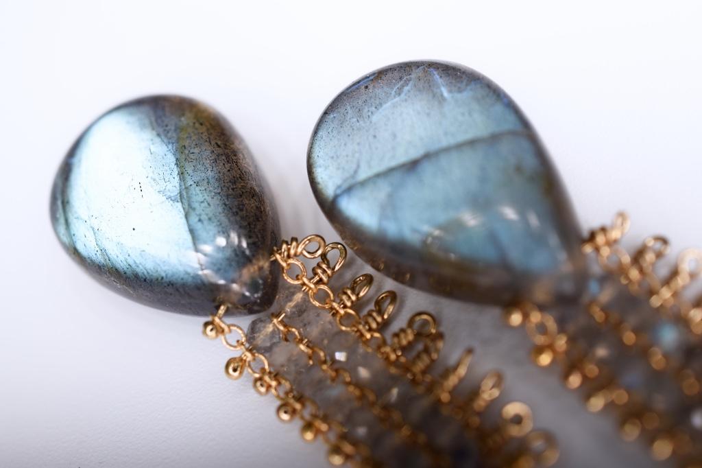 labradorite chain woven earrings