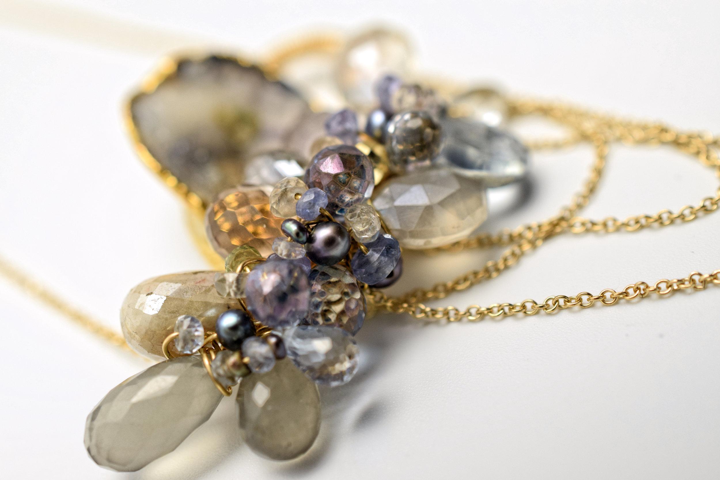 gemstone and druzy pendant necklace