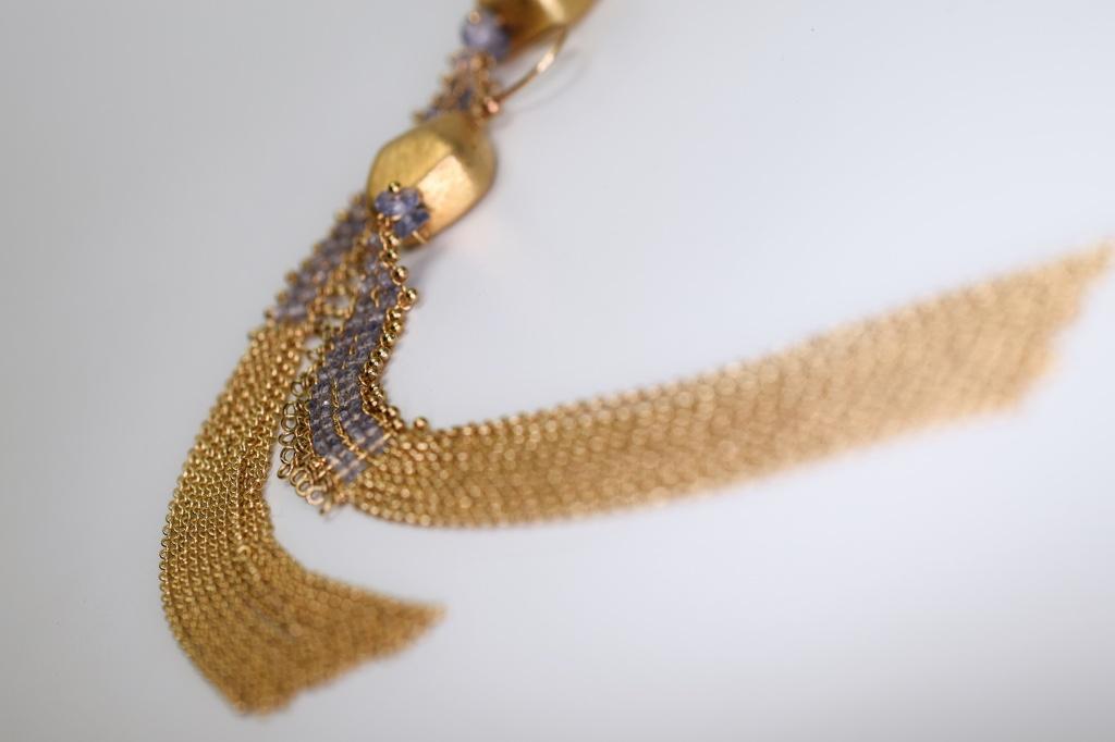 chain woven tanzanite earrings