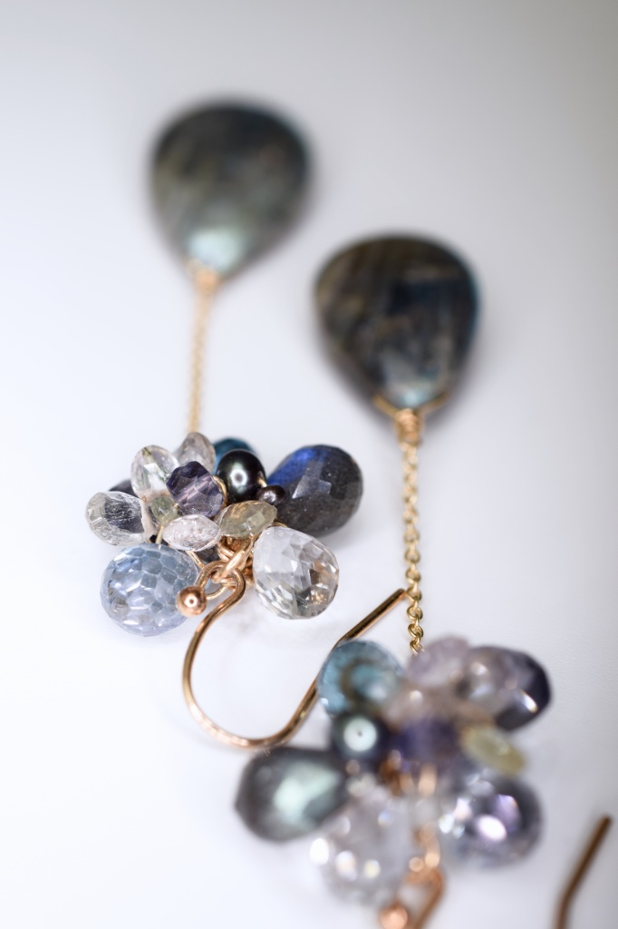 labradorite and gemstone earrings