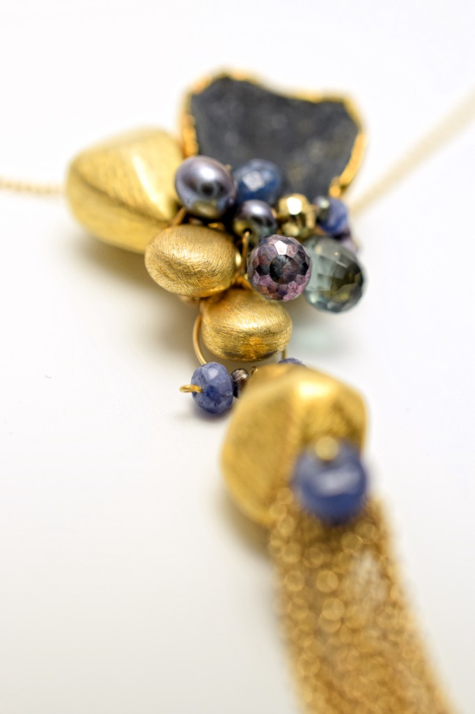 long gemstone and druzy necklace
