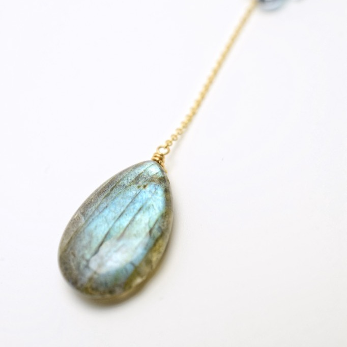 labradorite drop pendant and gemstone necklace