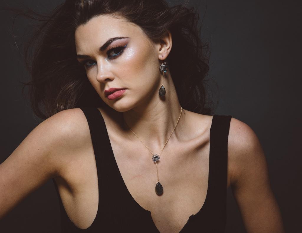 model wearing labradorite drop pendant and gemstone necklace
