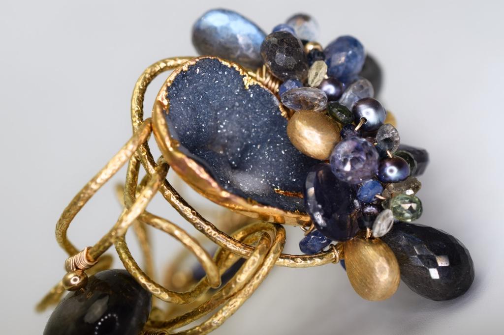 gemstone and druzy cuff bracelet