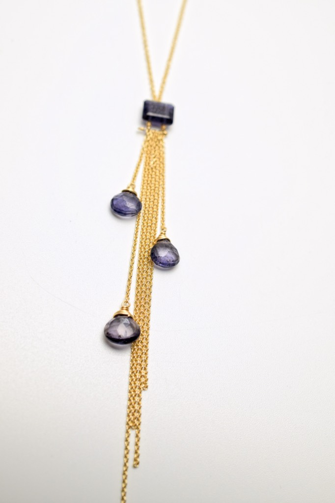 iolite multi drop with gold chains necklace
