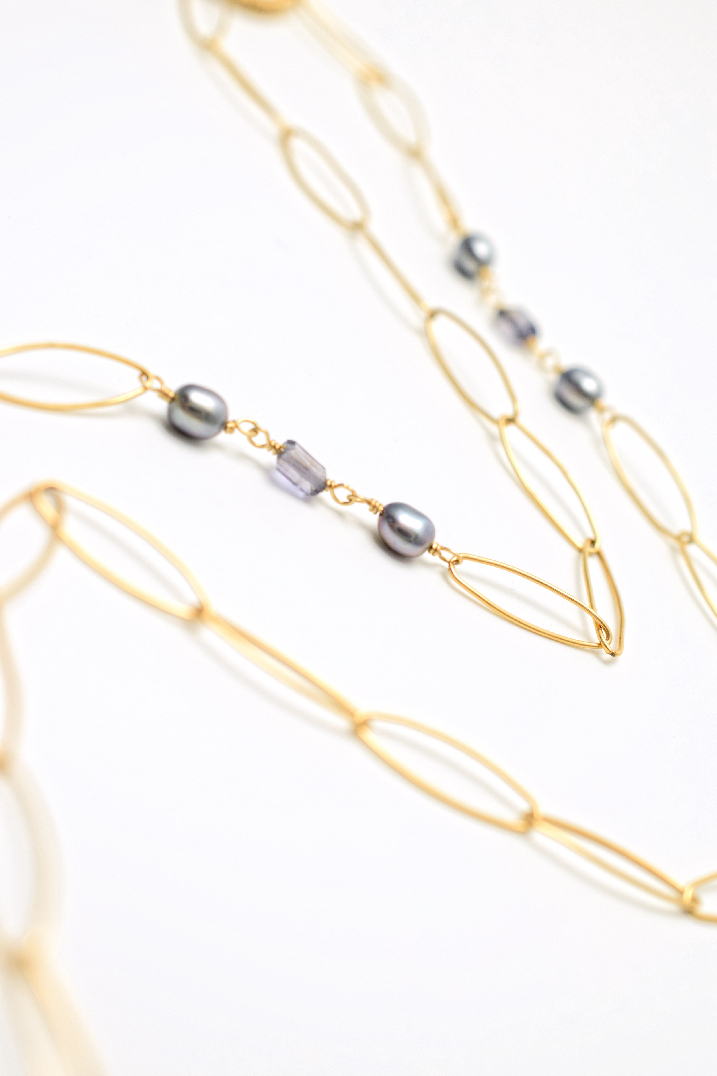 gemstone pearl druzy gold long pendant necklace