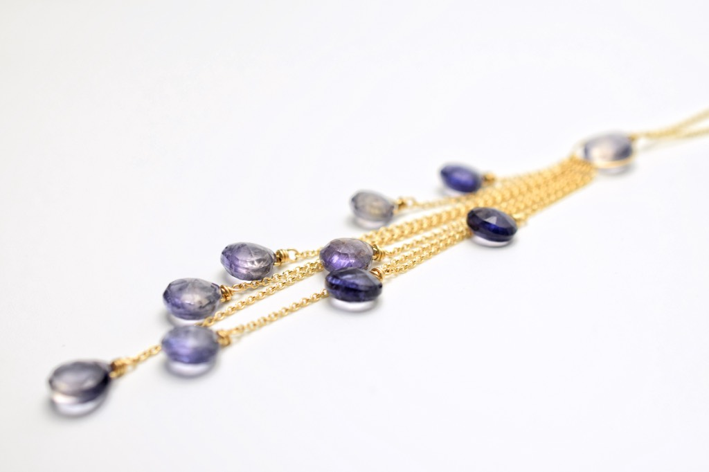 iolite multi drop necklace with gold chains