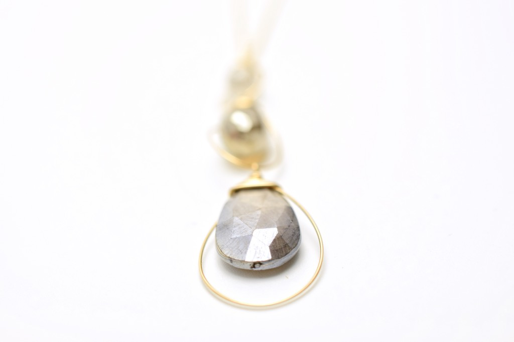 moonstone triple drop gold necklace